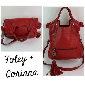 Foley + Corinna Red Leather Fold Over Crossbody